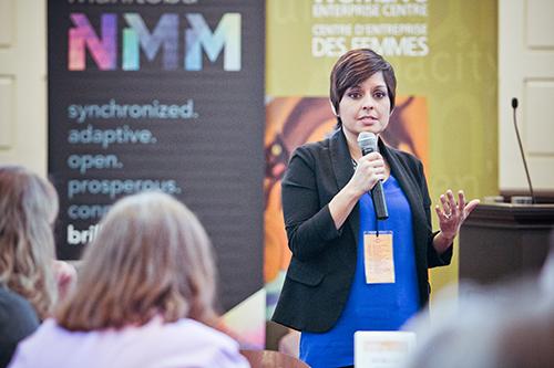 Cynthia Sanchez presenting at MBLOG